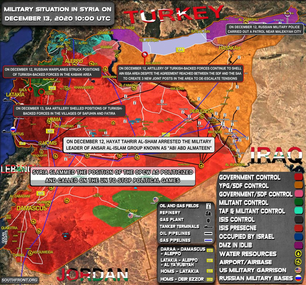 Military Situation In Syria On December 13, 2020 (Map Update)