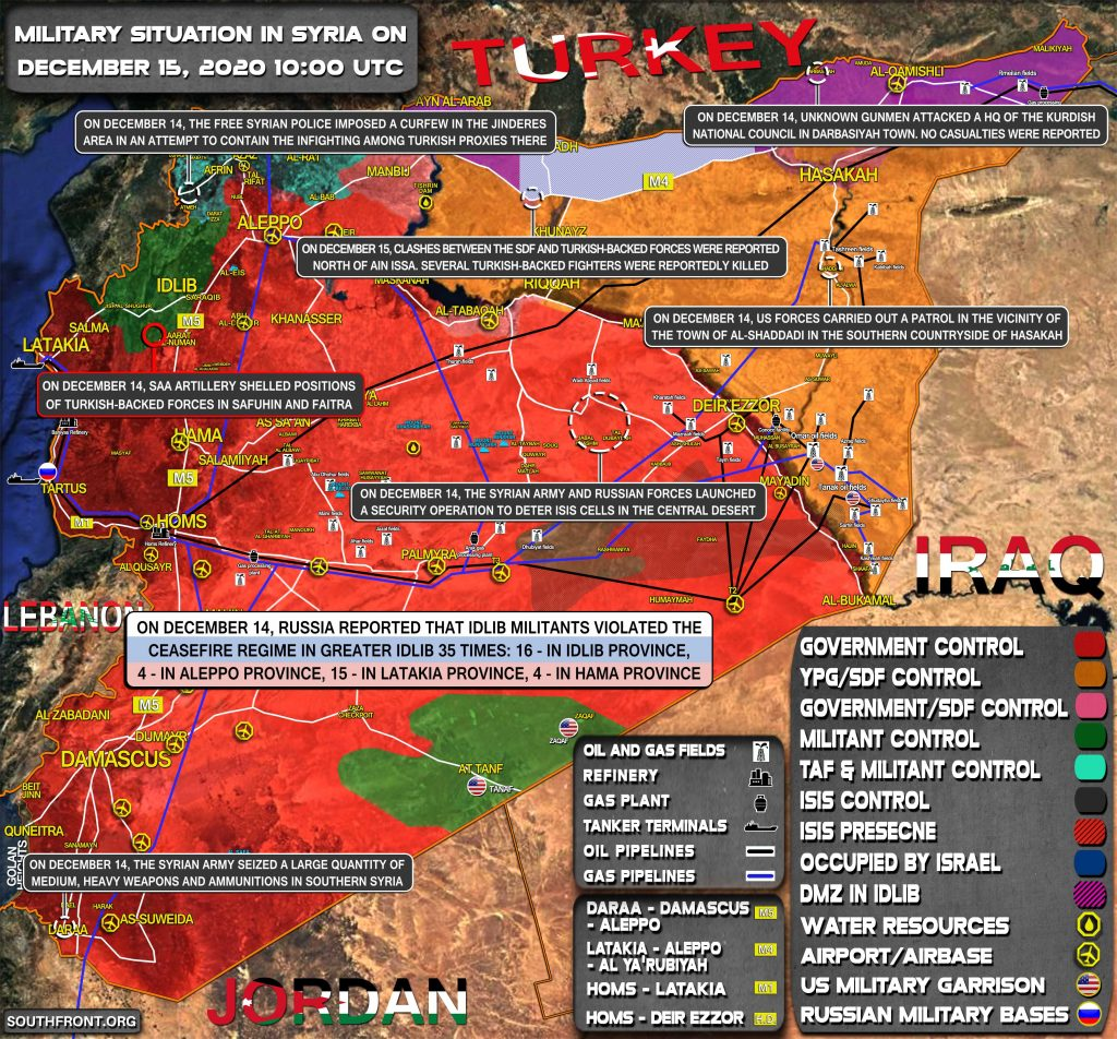 Military Situation In Syria On December 15, 2020 (Map Update)