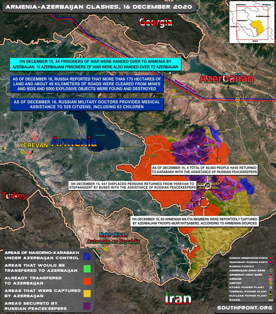 Map Update: Military Situation In Nagorno-Karabakh On December 16, 2020