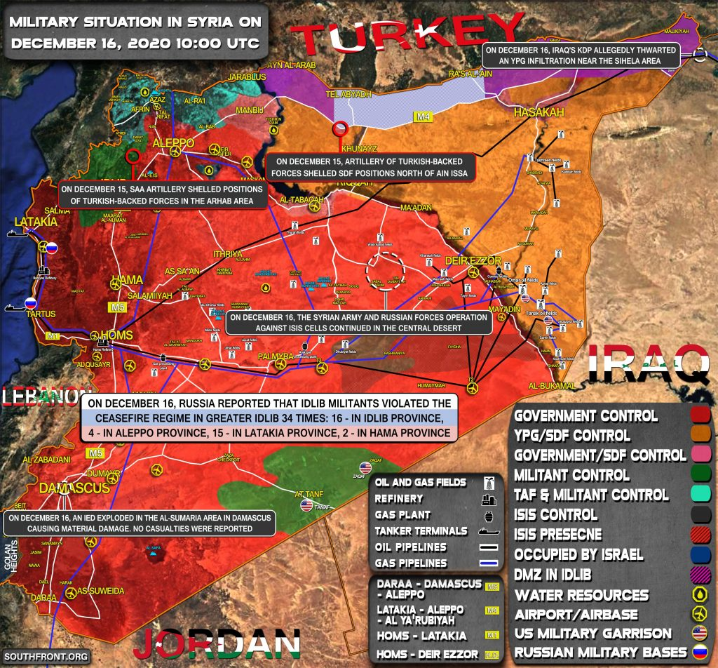 Military Situation In Syria On December 16, 2020 (Map Update)