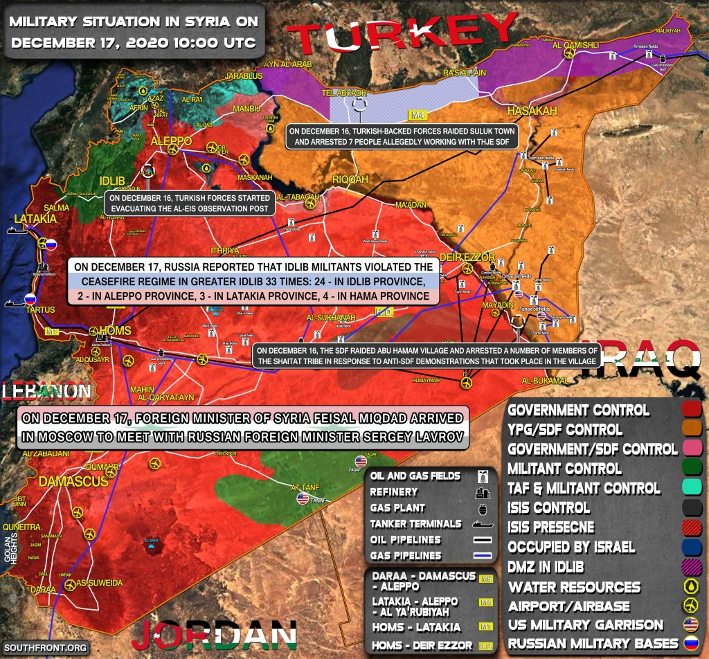 Military Situation In Syria On December 17, 2020 (Map Update)