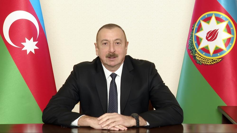 Azerbaijan President Aliyev Gives Victory Speech After Baku's Forces Enter Lachin District