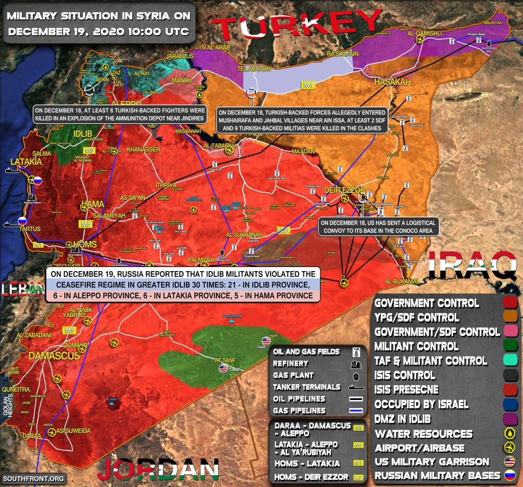 Military Situation In Syria On December 19, 2020 (Map Update)