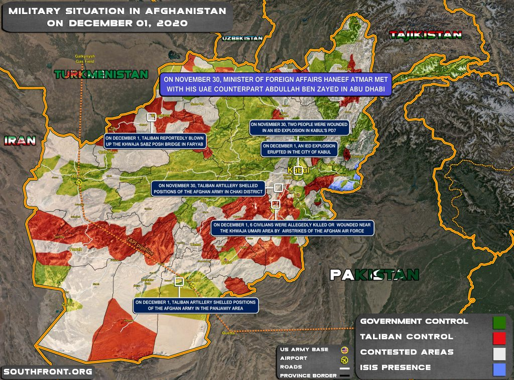Military Situation In Afghanistan On December 1, 2020 (Map Update)