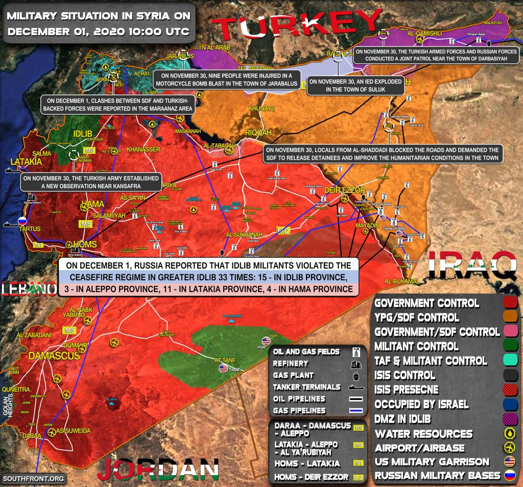 Military Situation In Syria On December 1, 2020 (Map Update)