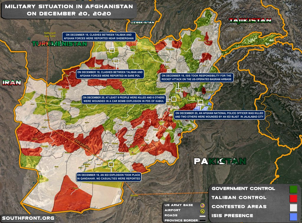 Military Situation In Afghanistan On December 20, 2020 (Map Update)