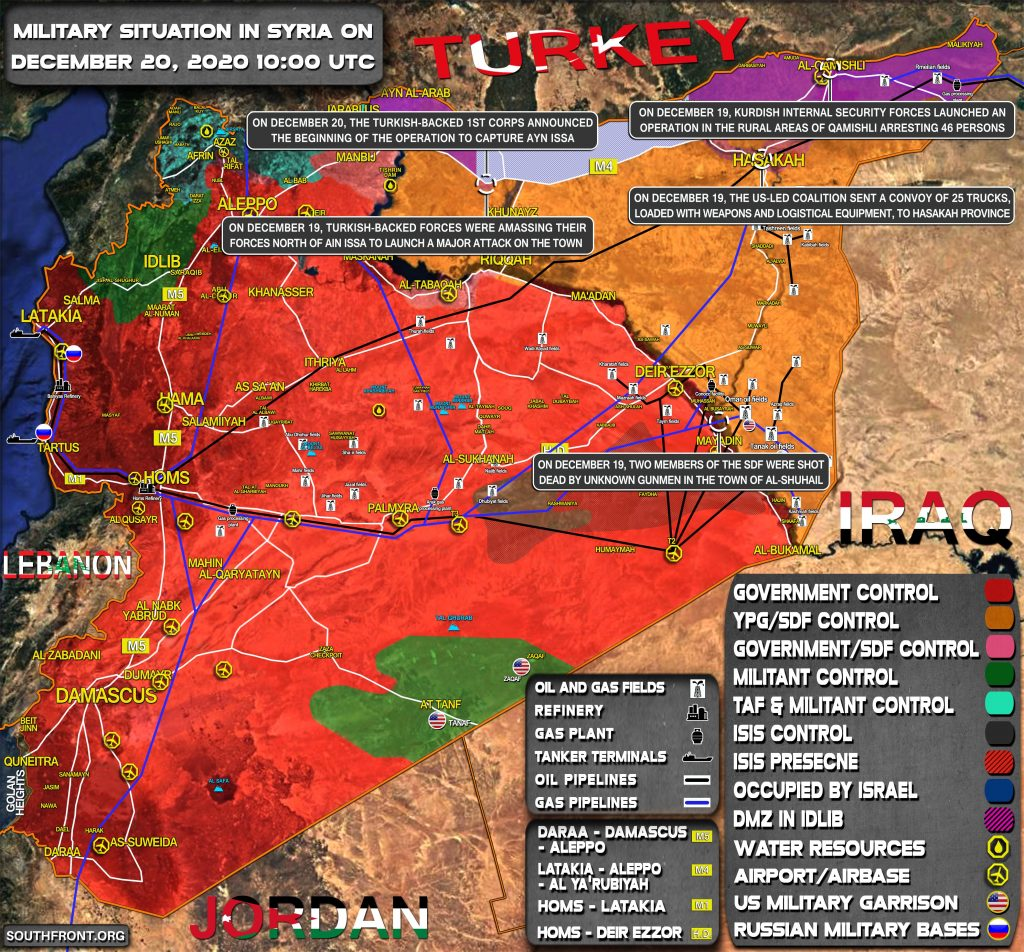 Military Situation In Syria On December 20, 2020 (Map Update)