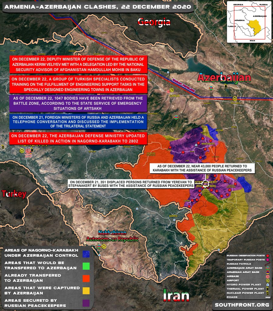 Map Update: Military Situation In Nagorno-Karabakh On December 22, 2020