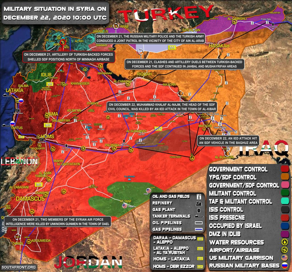 Military Situation In Syria On December 22, 2020 (Map Update)