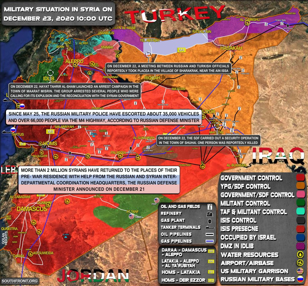 Military Situation In Syria On December 23, 2020 (Map Update)