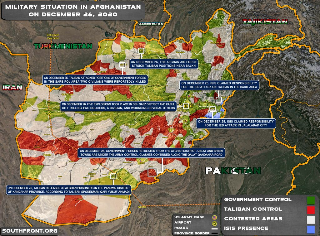 Military Situation In Afghanistan On December 26, 2020 (Map Update)