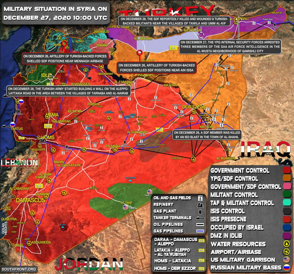 Military Situation In Syria On December 27, 2020 (Map Update)