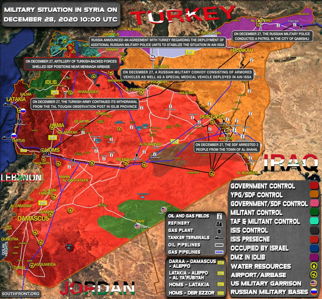 Military Situation In Syria On December 28, 2020 (Map Update)