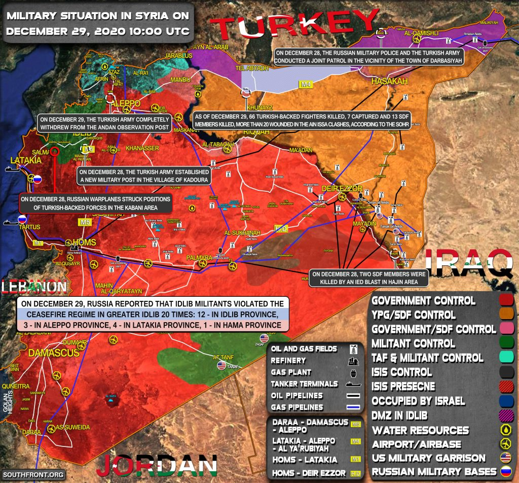 Military Situation In Syria On December 29, 2020 (Map Update)
