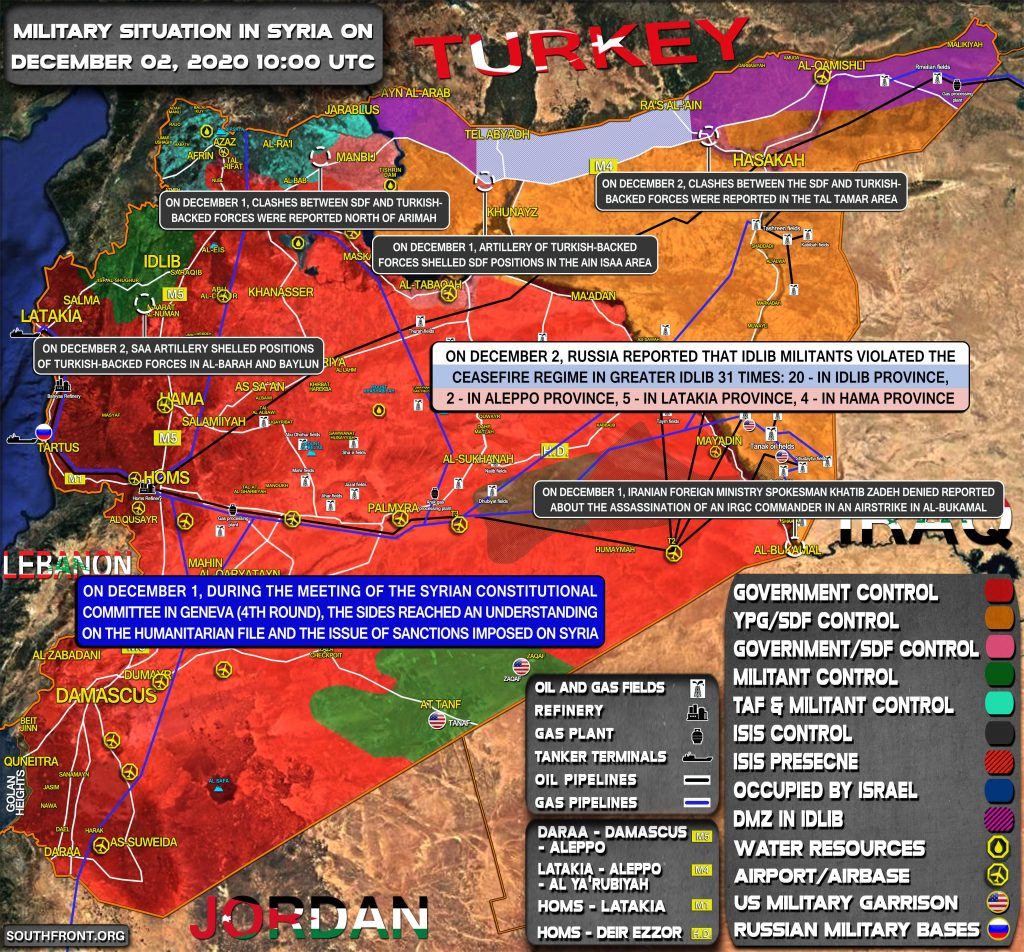 Military Situation In Syria On December 2, 2020 (Map Update)
