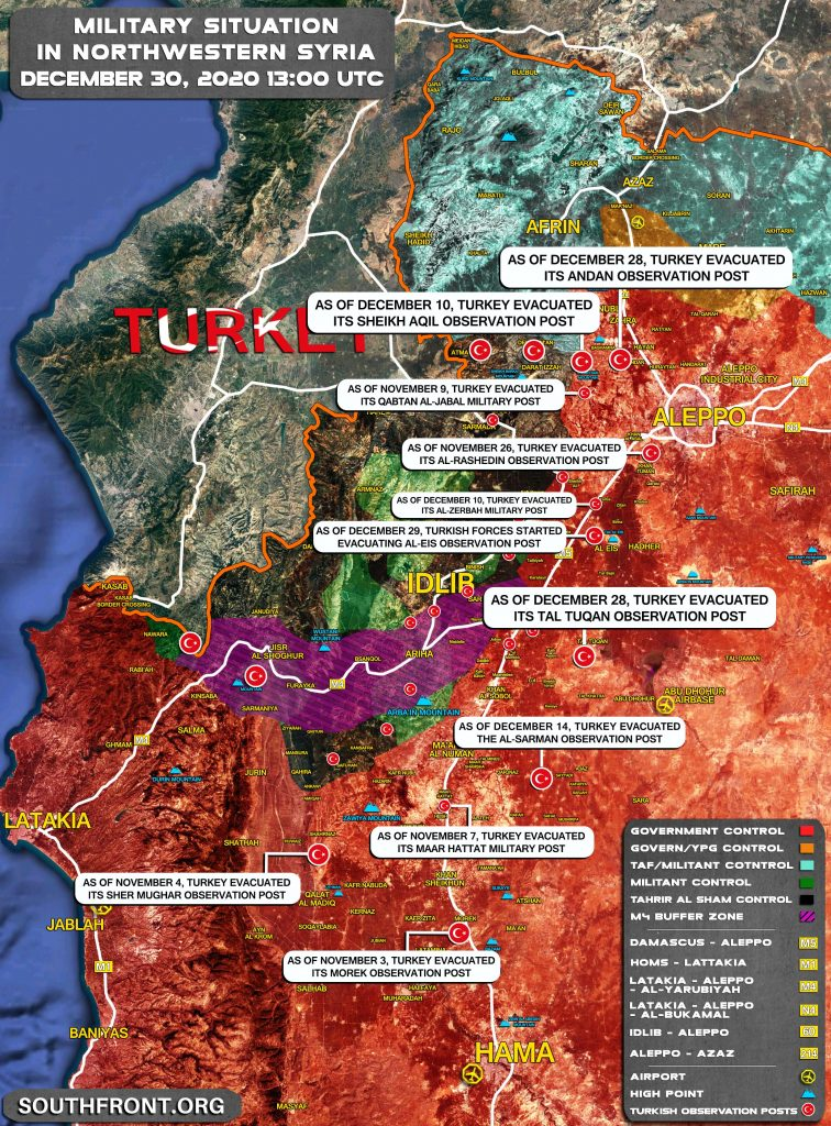 Map Update: Turkey Is Reducing Number Of Its Observation Posts In Greater Idlib