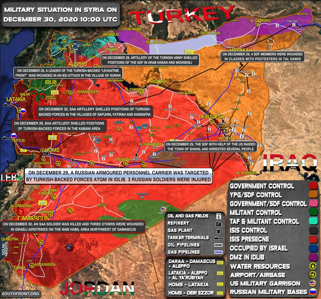 Military Situation In Syria On December 30, 2020 (Map Update)