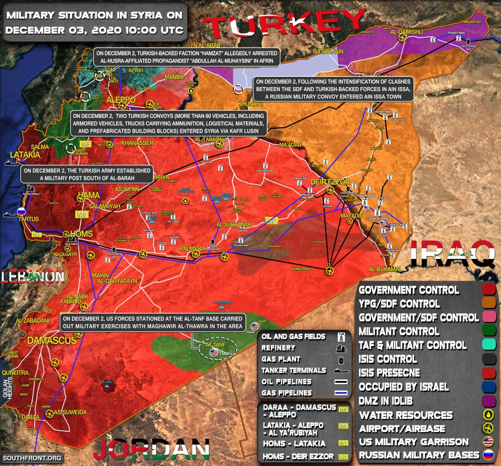 Military Situation In Syria On December 3, 2020 (Map Update)