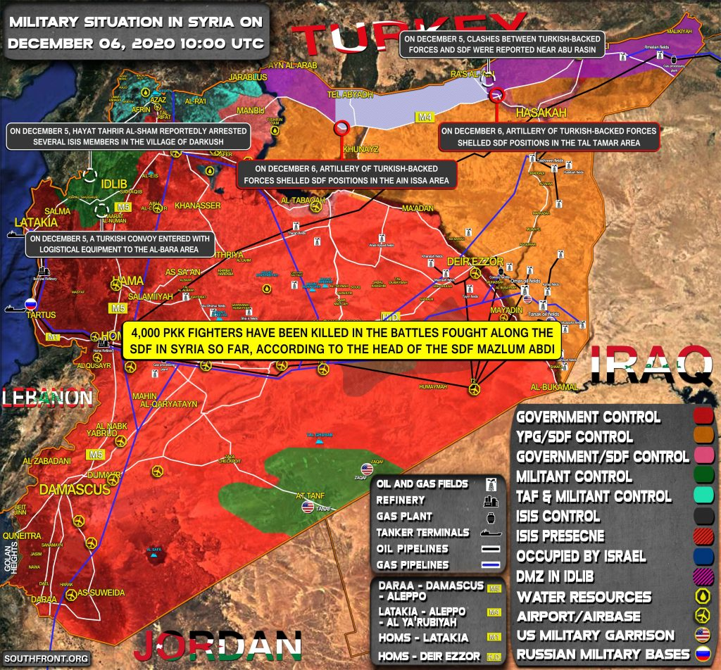 Military Situation In Syria On December 6, 2020 (Map Update)