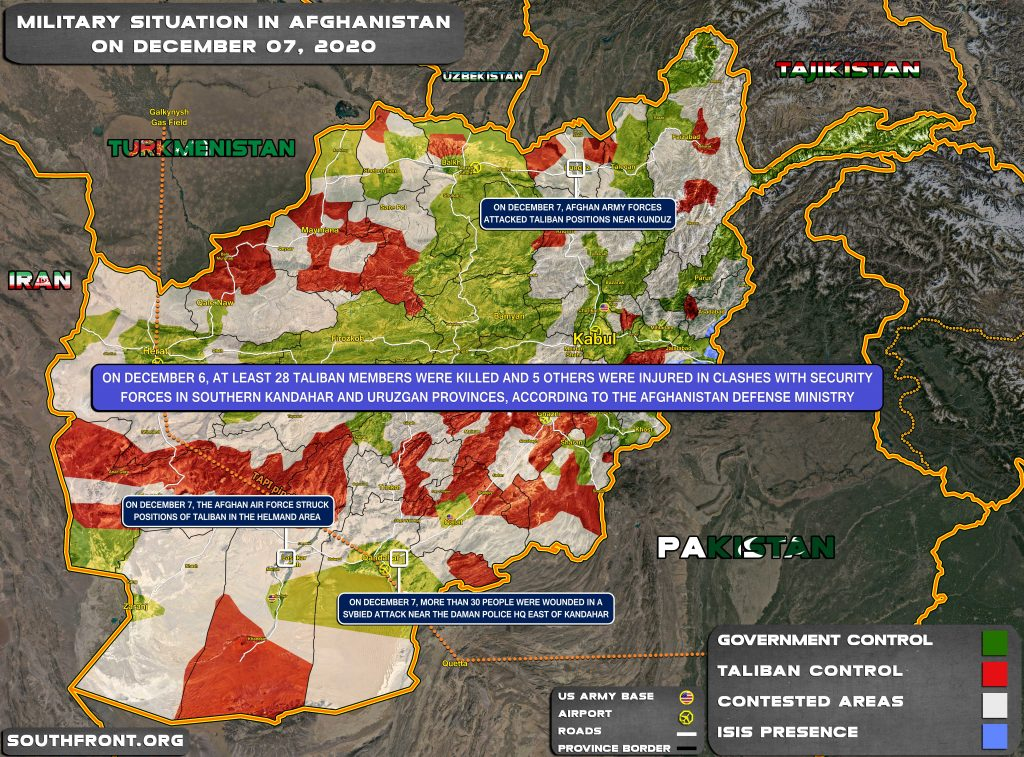 Military Situation In Afghanistan On December 7, 2020 (Map Update)