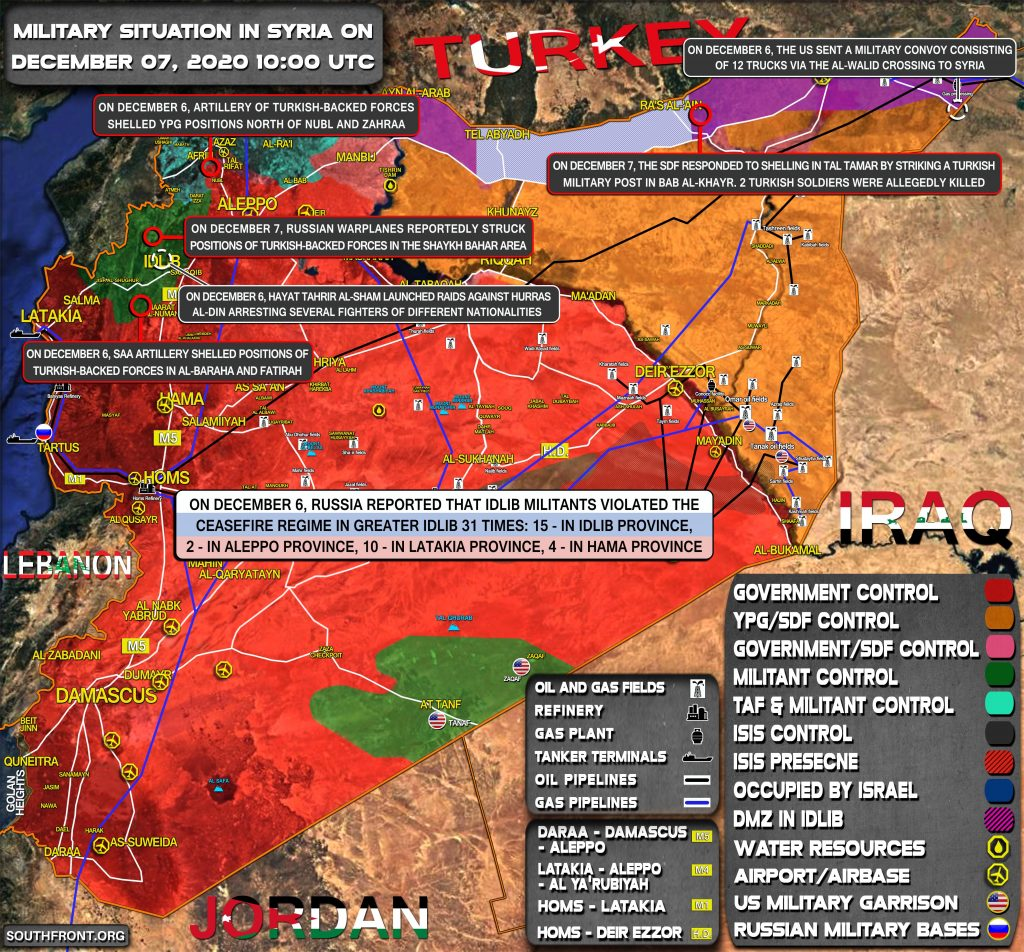 Military Situation In Syria On December 7, 2020 (Map Update)