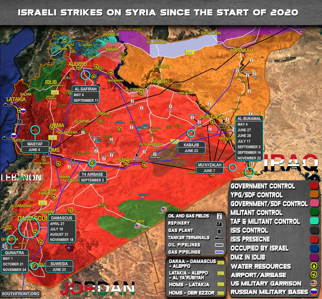 Map Update: Israeli Strikes On Syria In 2020