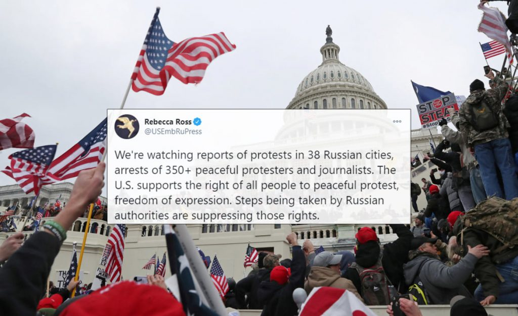 Russian Foreign Ministry Slams Hypocrisy Of State Department Over Anti-Government Protests