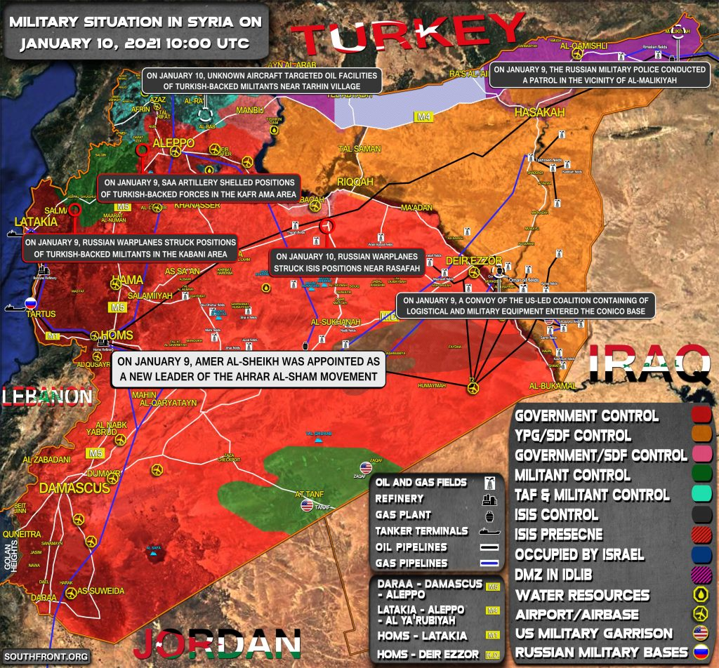 Military Situation In Syria On January 10, 2021 (Map Update)