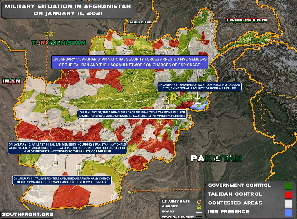 Military Situation In Afghanistan On January 11, 2021 (Map Update)