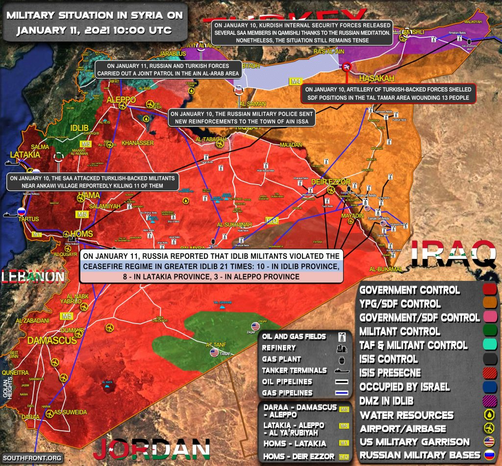 Military Situation In Syria On January 11, 2021 (Map Update)
