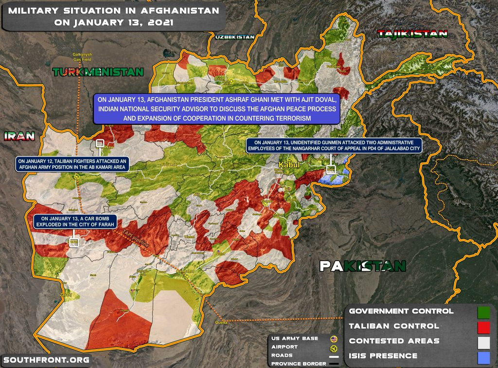 Military Situation In Afghanistan On January 13, 2021 (Map Update)