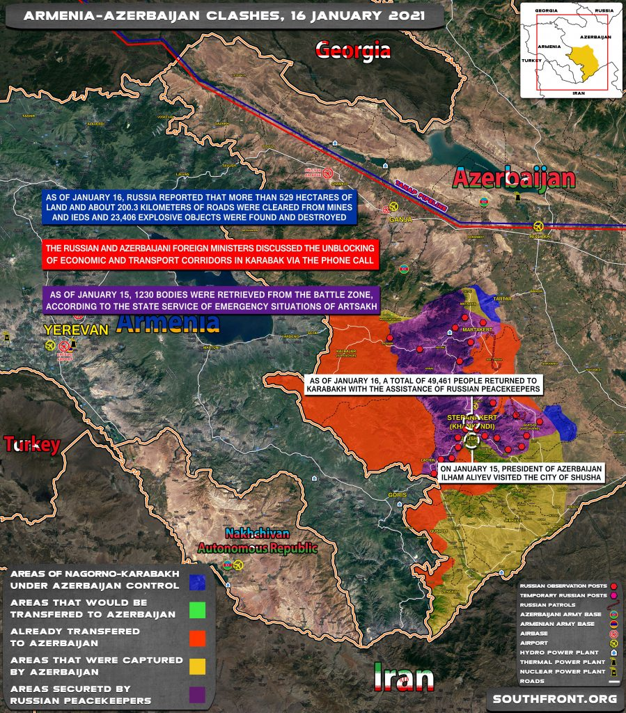 Security Situation In Nagorno-Karabakh On January 16, 2021 (Map Update)
