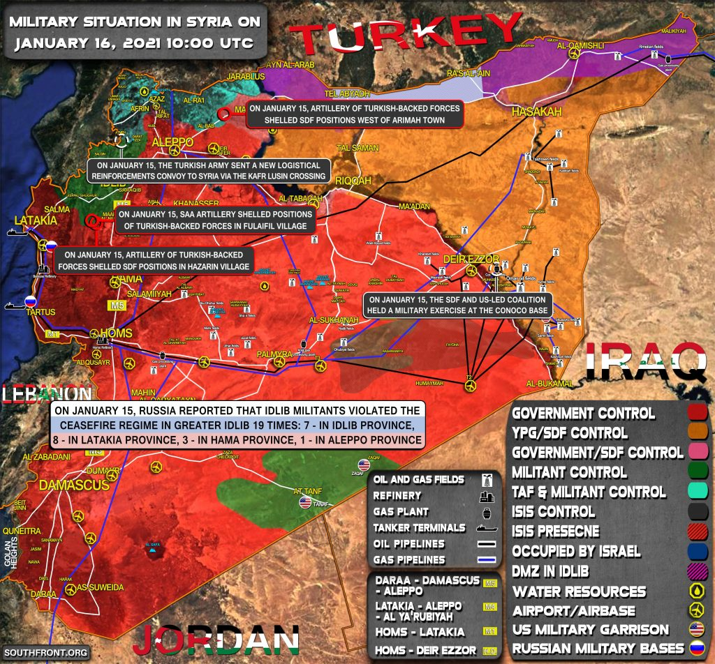 Military Situation In Syria On January 16, 2021 (Map Update)