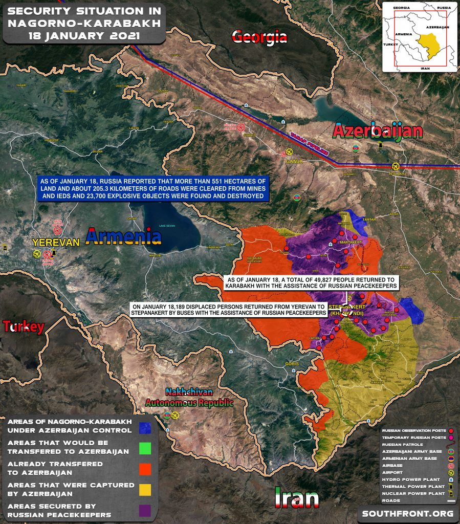 Security Situation In Nagorno-Karabakh On January 18, 2021 (Map Update)