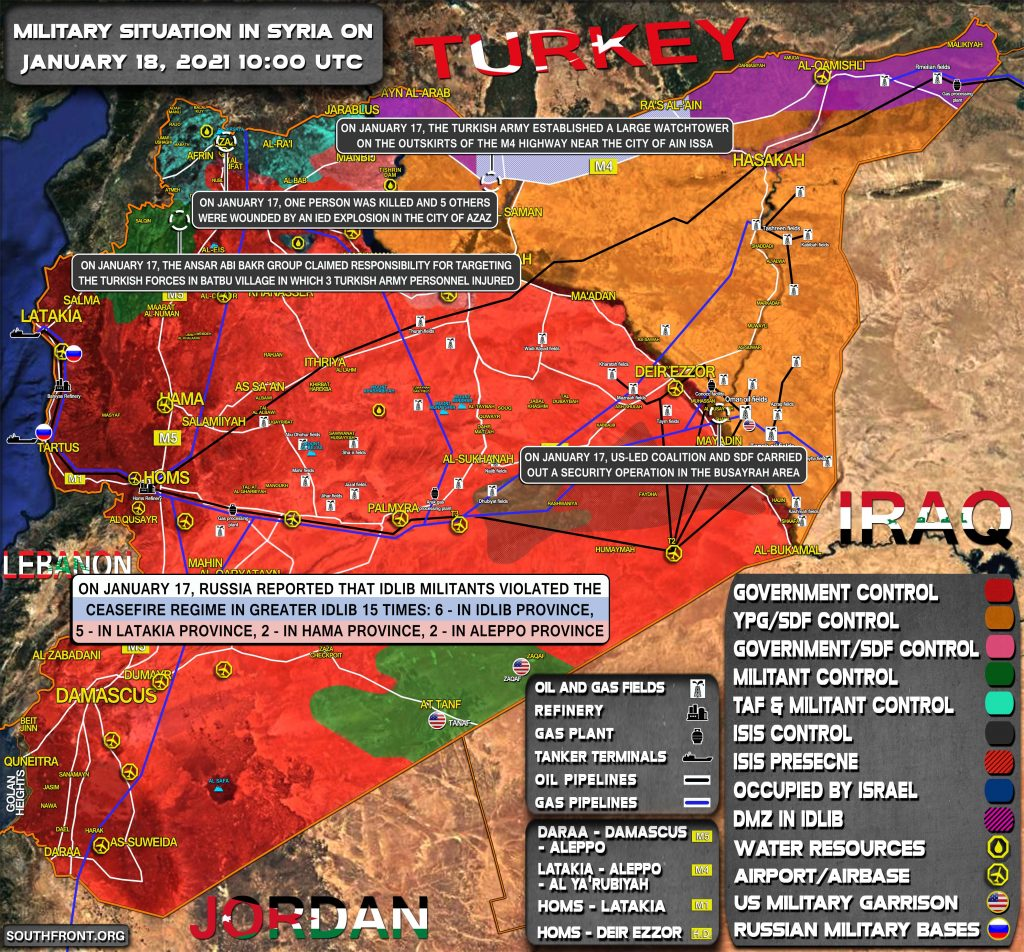 Military Situation In Syria On January 18, 2021 (Map Update)