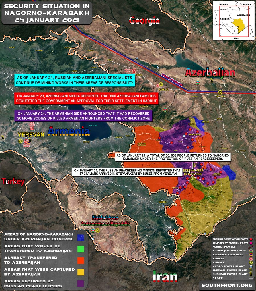 Security Situation In Nagorno-Karabakh On January 24, 2021 (Map Update)