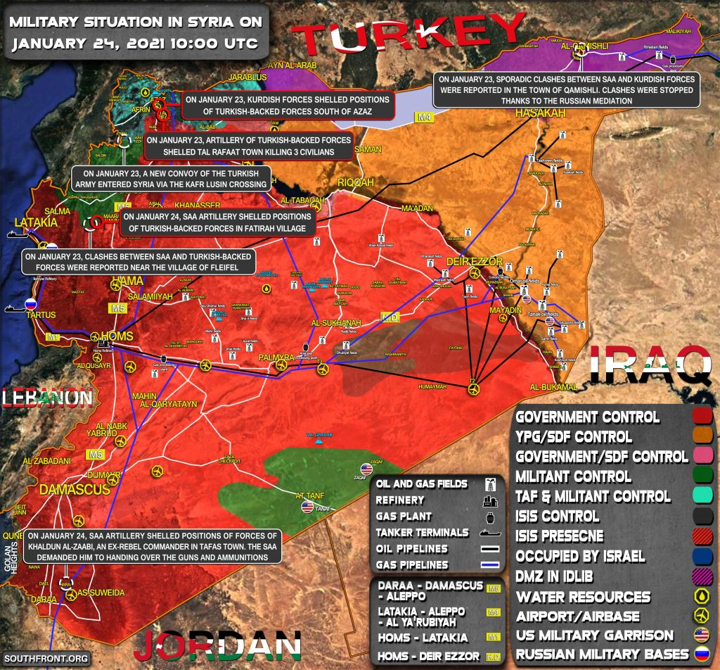 Situación militar en Siria el 24 de enero de 2021 (actualización del mapa)