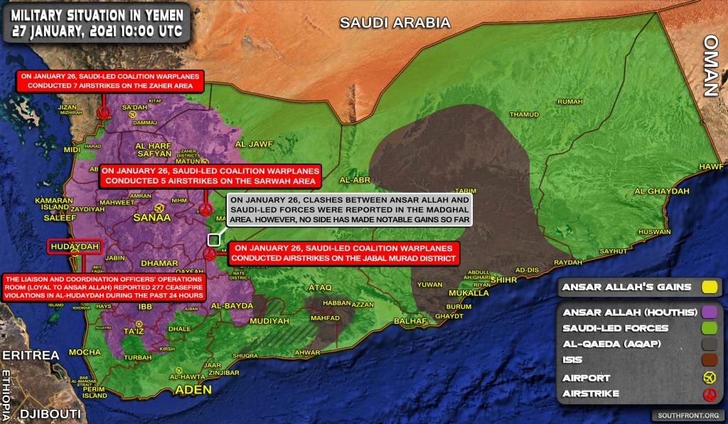 Military Situation In Yemen On January 27, 2021 (Map Update)