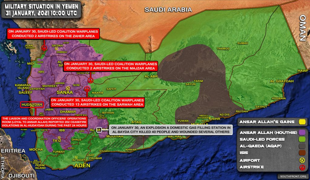 Military Situation In Yemen On January 31, 2021 (Map Update)