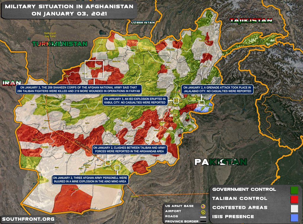 Military Situation In Afghanistan On January 3, 2021 (Map Update)