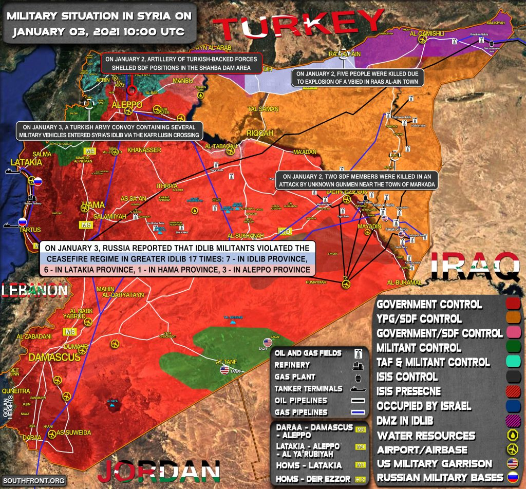 Military Situation In Syria On January 3, 2021 (Map Update)