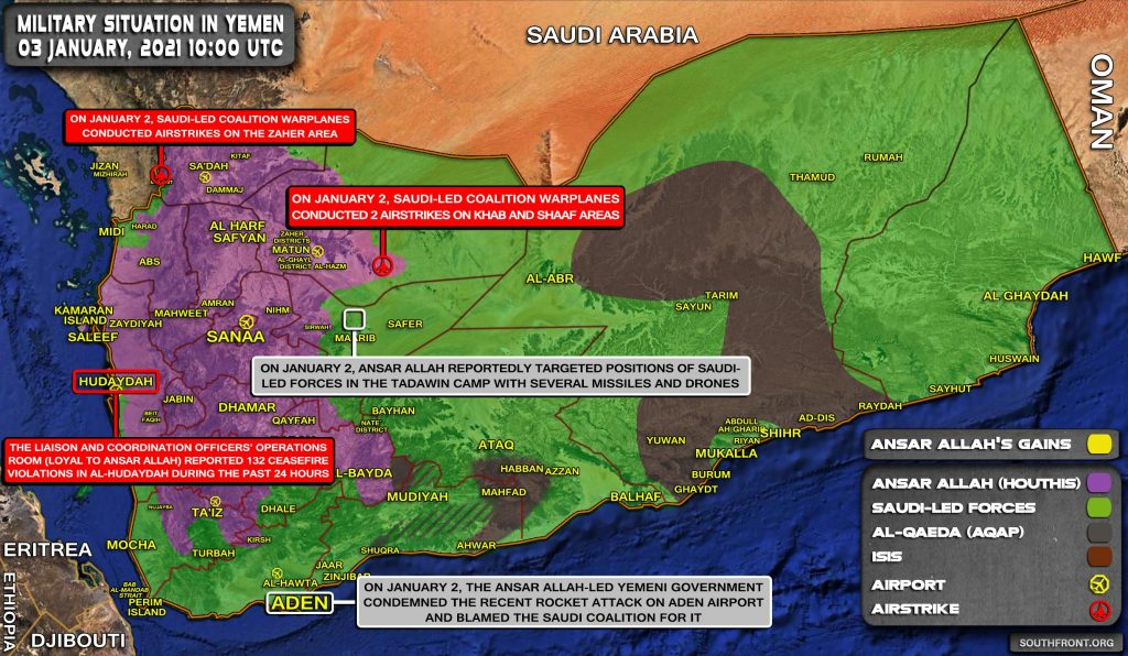 Military Situation In Yemen On January 3, 2021 (Map Update)