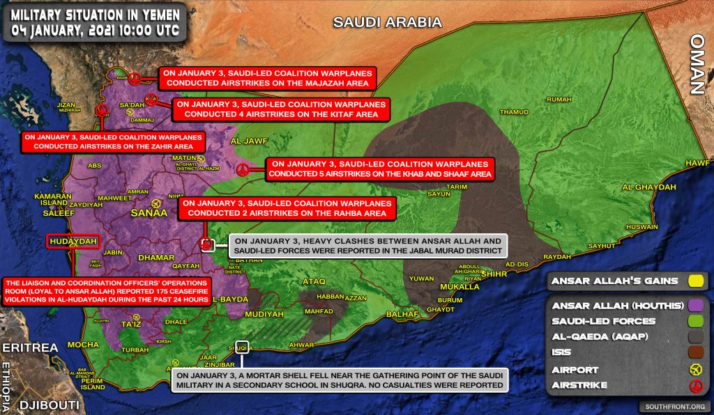 Military Situation In Yemen On January 4, 2021 (Map Update)