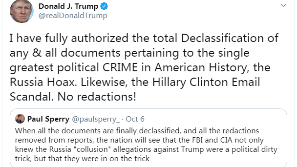 "Trump To Declassify And Release All ""Russiagate"" Documents"