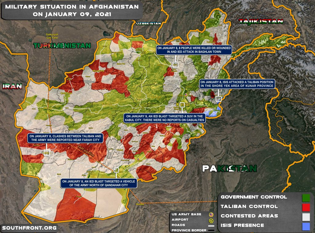 Military Situation In Afghanistan On January 9, 2021 (Map Update)