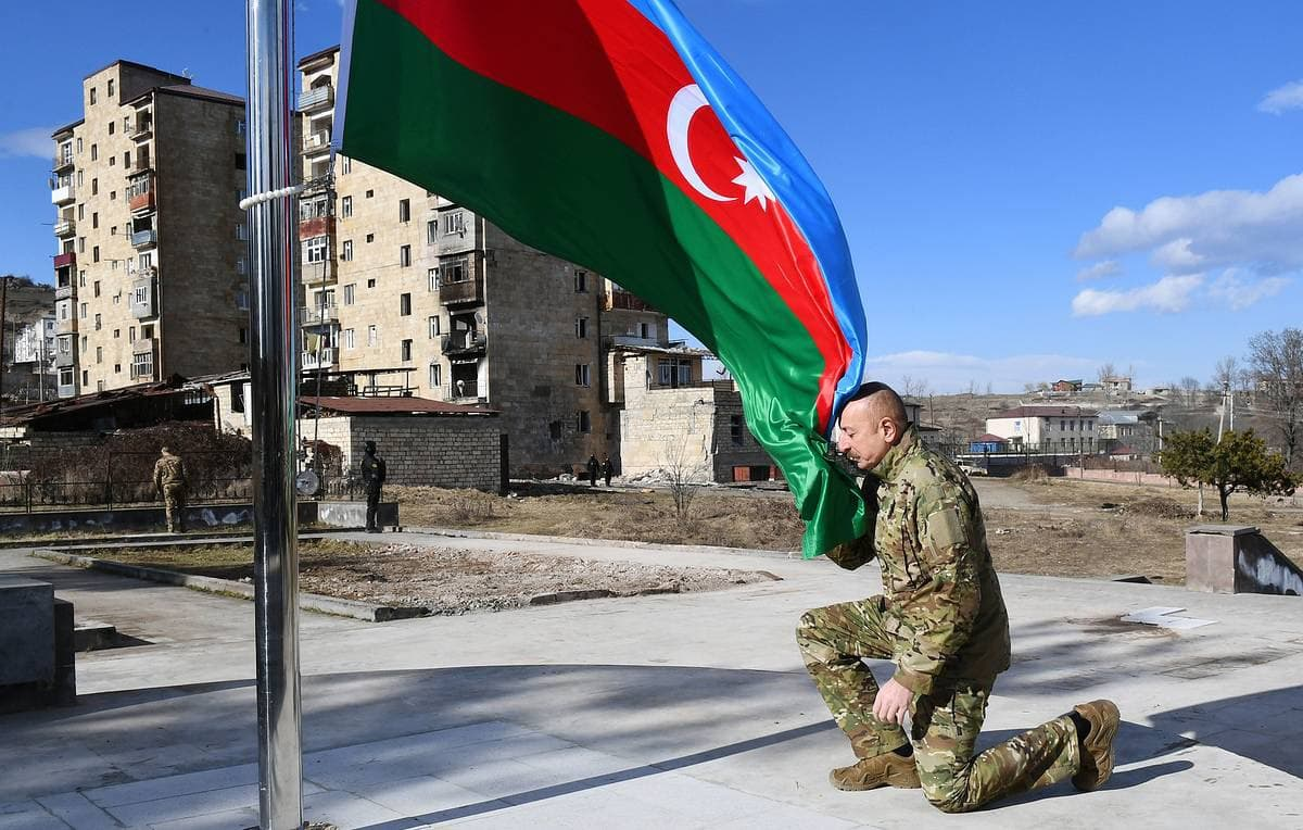 "Azerbaijan President Continues His Victory Tour Of ""Liberated Territories"", While Russians Keep The Order"