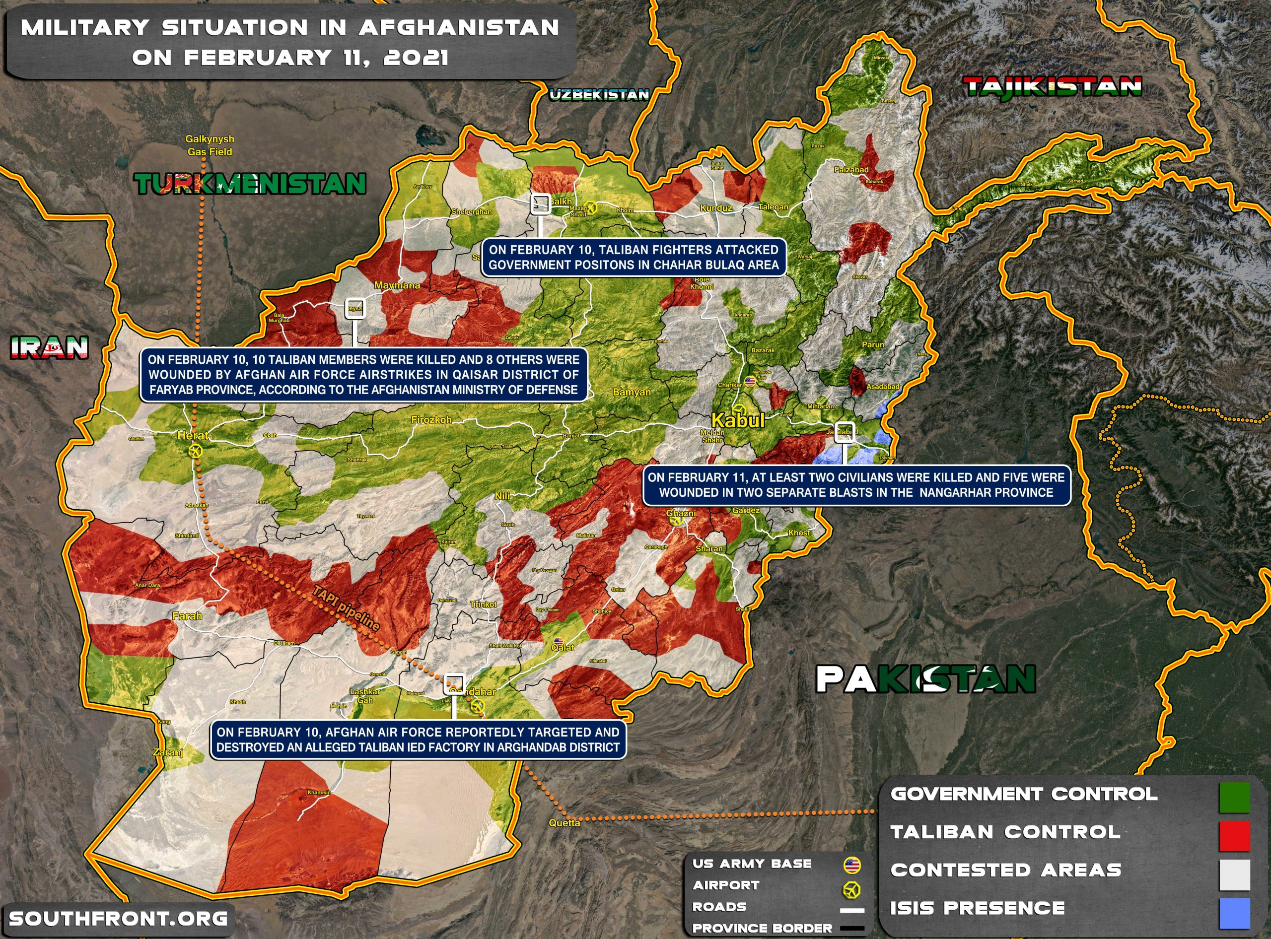 Military Situation In Afghanistan On February 11, 2021 (Map Update)