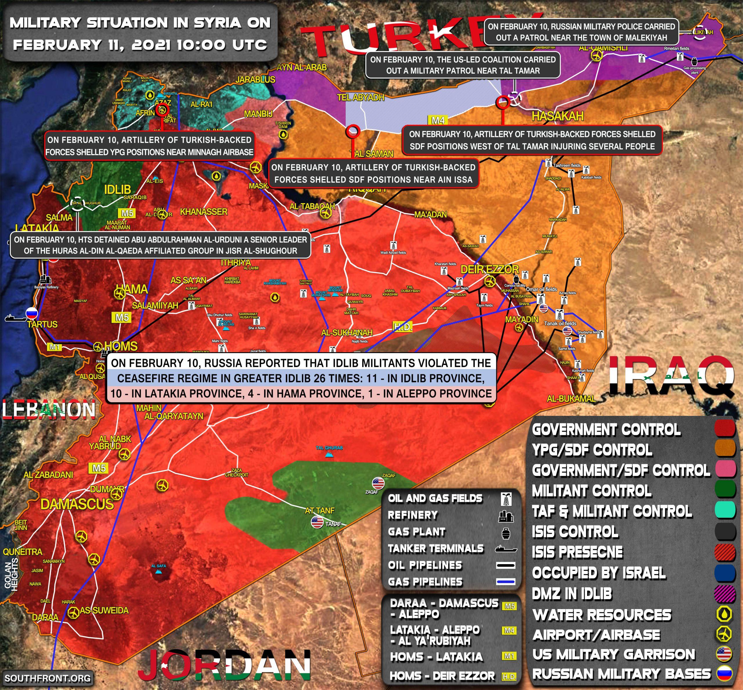Situación militar en Siria el 11 de febrero de 2021 (actualización del mapa)