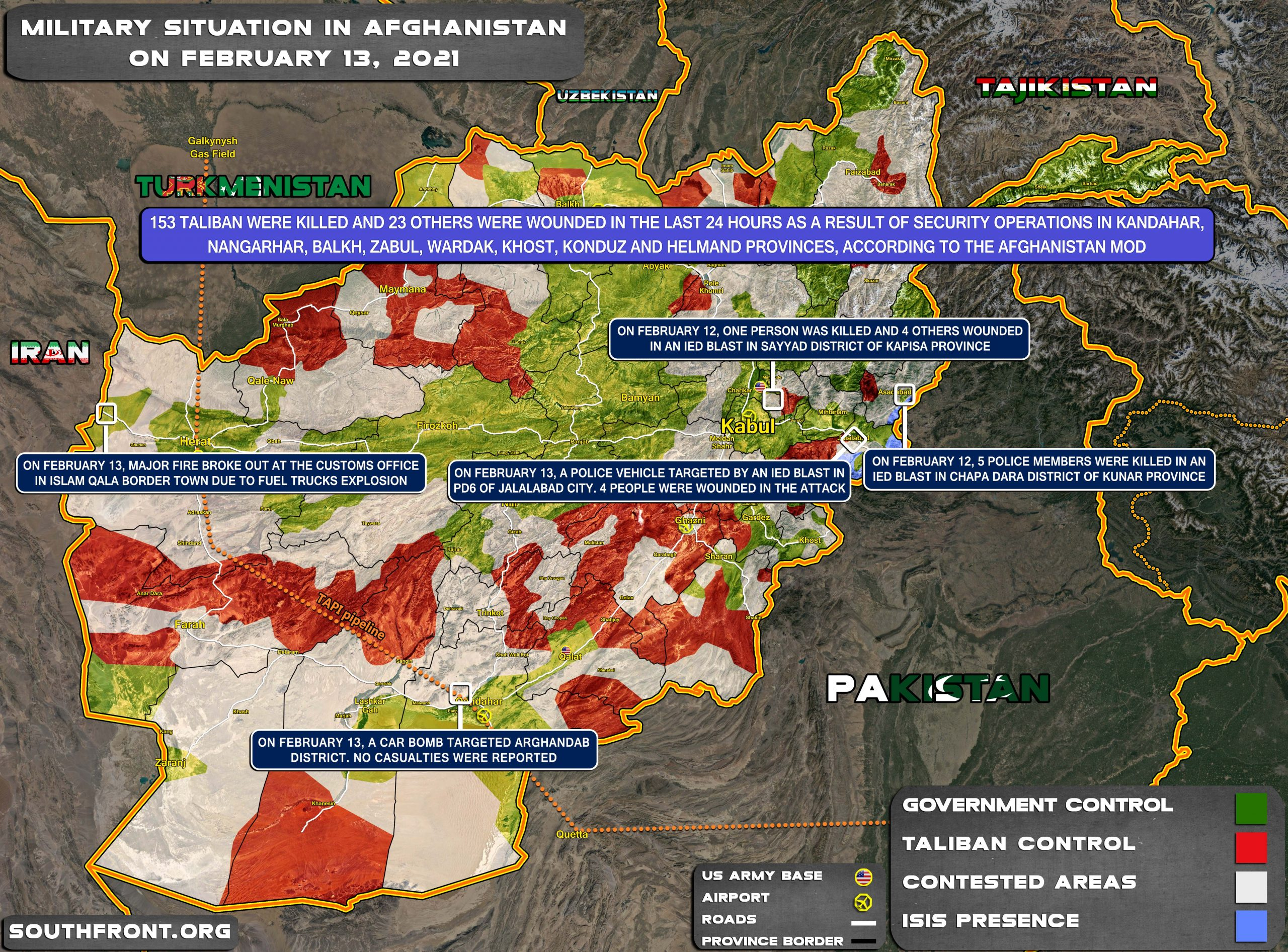 Military Situation In Afghanistan On February 13, 2021 (Map Update)