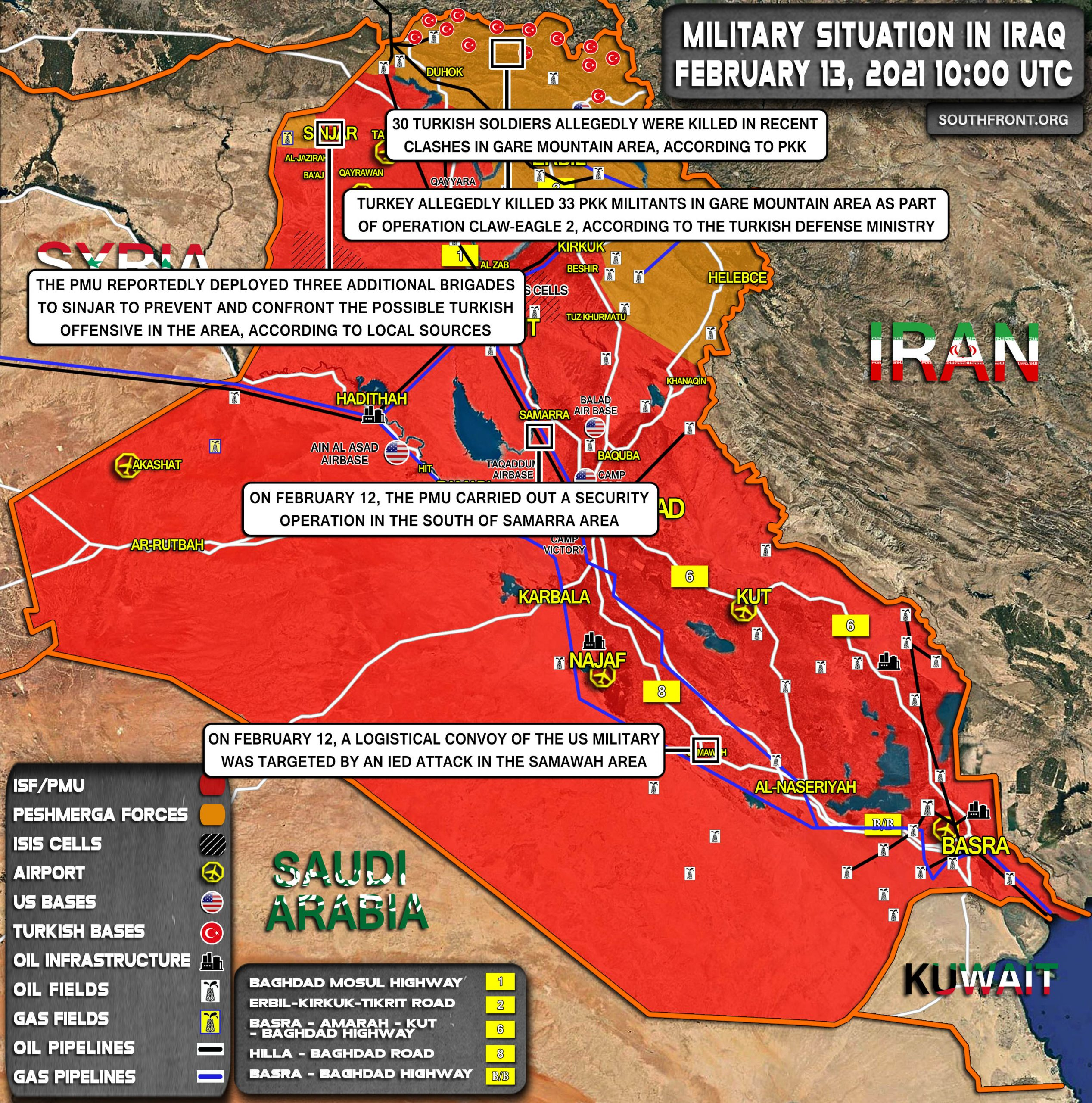Military Situation In Iraq On February 13, 2021 (Map Update)